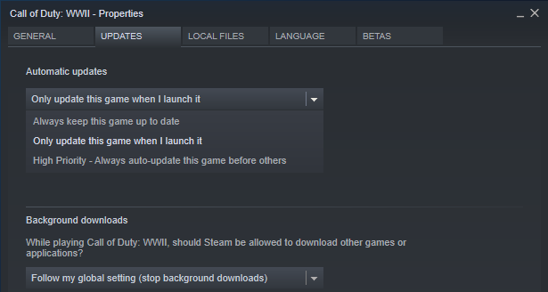 Disable automatic updates in Steam for optimized Windows 10 gaming
